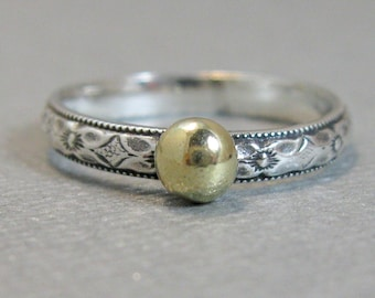 Sterling stacking ring with gold filled accent, Sterling patterned mixed metal ring with 5mm recycled gold filled granule, Size 6 1/2