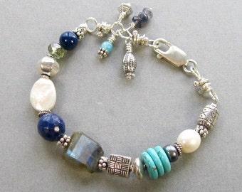 "Multi Colored Toggle Bracelet, eclectic sterling and gemstone Sundance style beaded bracelet for 6-6.5"" wrist, boho asymmetrical bracelet"