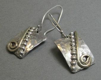 Handcrafted Sterling Silver and Brass Artisan Mixed Metal Earrings, Handmade Mixed Metal Dangle Earrings by Liz Blanchflower