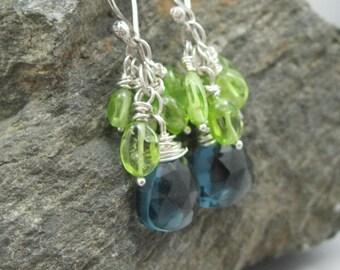 London blue topaz quartz drop earrings with peridot clusters, peridot and blue topaz dangle earrings on sterling silver