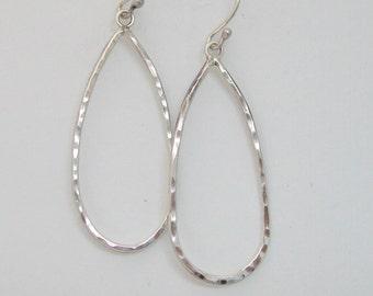 Sterling Silver Teardrop Hoops, Hand Forged Artsan Teardrop Hoops, Handmade Silver Hoops