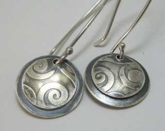 Small Layered Sterling Silver Handcrafted Disc Earrings, Small Artisan Textured Discs, Sterling Silver Pattern Drop Earrings