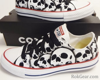 1a8e78c0fb7b Converse All Star skull shoes oxfords Womens unique painted skulls by  RokGear