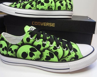 2d22fe08c042 Skull Converse Chuck Taylor s Hand painted skull shoes by RokGear