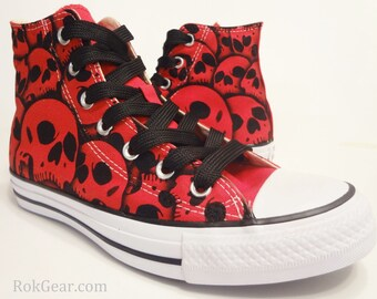 82bfa62d6d0a Skull Converse All Star High Top - Hand Painted by RokGear all sizes all  colors made to order