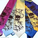 Mens wedding skull tie custom colors - print to order RokGear custom neckties