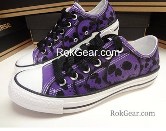 4499c1ccc70f81 Converse All Star skull shoes oxfords Womens unique painted skulls by  RokGear Only sold on Etsy