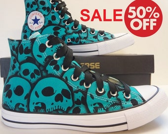 eb5dce49e33e Converse Skull shoes - SALE This pair this size this color 50% off - hand  painted skulls by RokGear