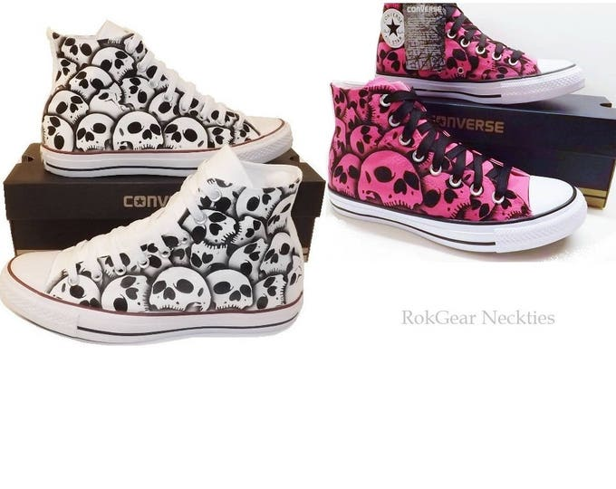 2 pair Skull Converse His and Hers wedding shoes unique hand painted skulls by RokGear - Made to order