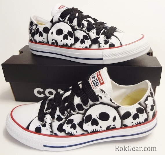 9f947b3c7be3 Converse All Star skull shoes oxfords Womens unique painted