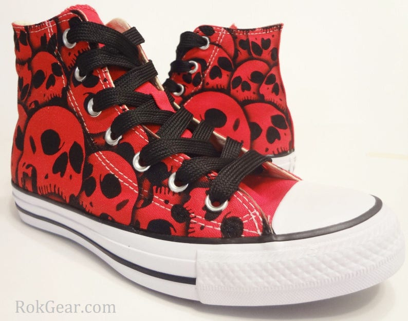 19c34436b673 Skull Converse All Star High Top Hand Painted by RokGear all