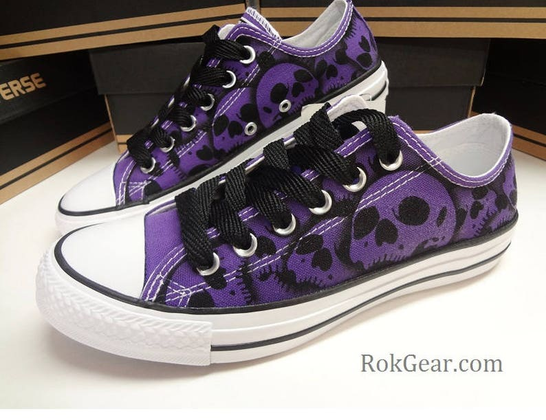c11a33ce856e54 Converse All Star skull shoes oxfords Womens unique painted