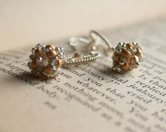 Sea foam, Gold and Silver hand beaded earrings
