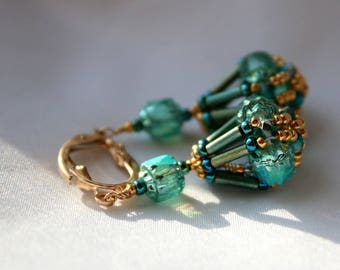Hand Beaded Teal dangle earrings, Cathedral Czech glass 14 kt gold filled findings