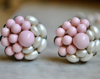 Pink and Pearl Clustered Bead Earrings