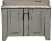 Primitive farmhouse rustic furniture painted jelly cupboard washstand country cottage shabby chic cabinet