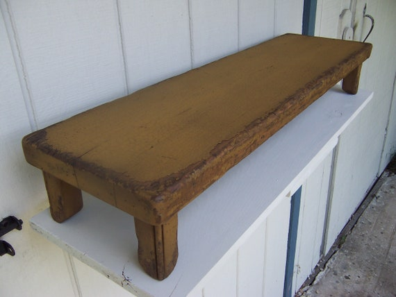 """HANDCRAFTED Primitive Country Rustic 7/"""" Black Distressed Farmhouse Wood Riser"""
