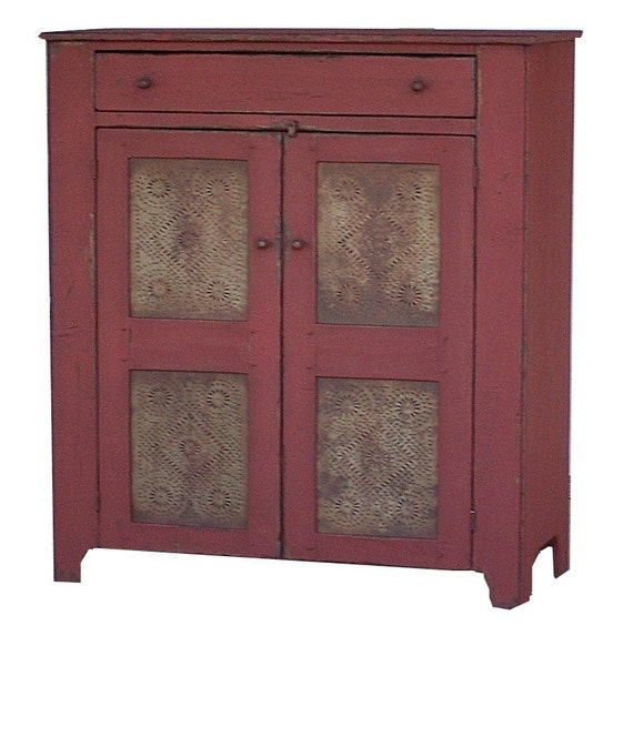 image 0 - Primitive Pie Safe Painted Country Jelly Cupboard Cabinet Etsy
