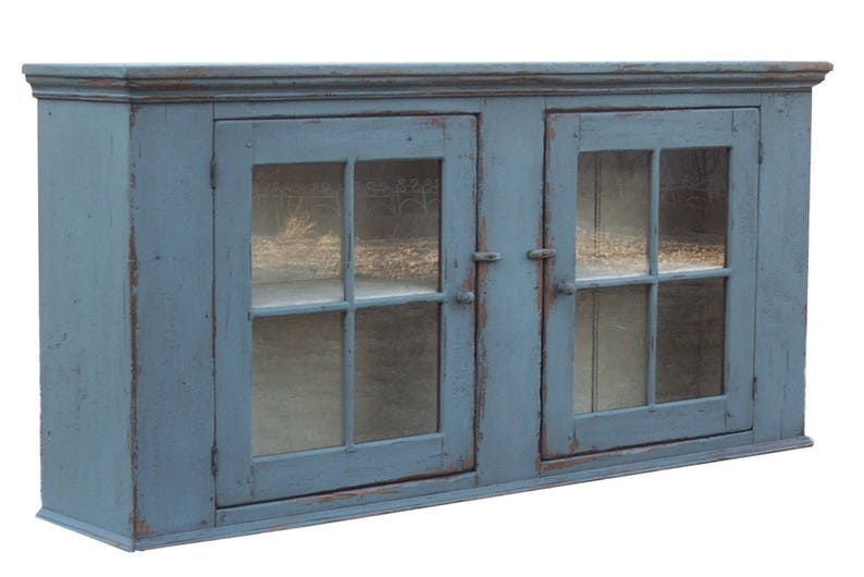 Primitive Furniture Painted Country Wall Cupboard Farmhouse Etsy