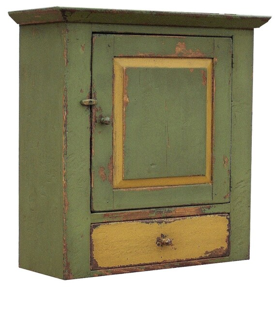 Vintage Rustic Kitchen Cabinets: Primitive Wall Cabinet Farmhouse Rustic Hanging Cupboard