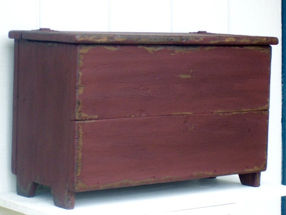 Tremendous Primitive Bench Blanket Chest Small Storage Box Trunk Painted Country Distressed Rustic Farmhouse Furniture Decor Bralicious Painted Fabric Chair Ideas Braliciousco