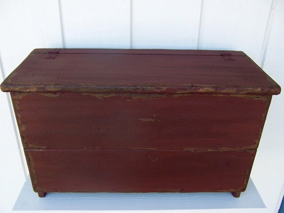 Magnificent Primitive Bench Blanket Chest Small Storage Box Trunk Painted Country Distressed Rustic Farmhouse Furniture Decor Caraccident5 Cool Chair Designs And Ideas Caraccident5Info