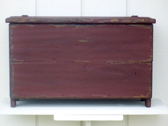 Tremendous Primitive Bench Blanket Chest Small Storage Box Trunk Painted Country Distressed Rustic Farmhouse Furniture Decor Caraccident5 Cool Chair Designs And Ideas Caraccident5Info
