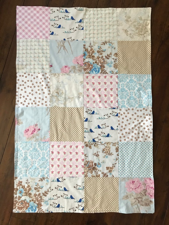 32x48 Pastel Roses and Birds Baby Girl Blanket Ready to Ship