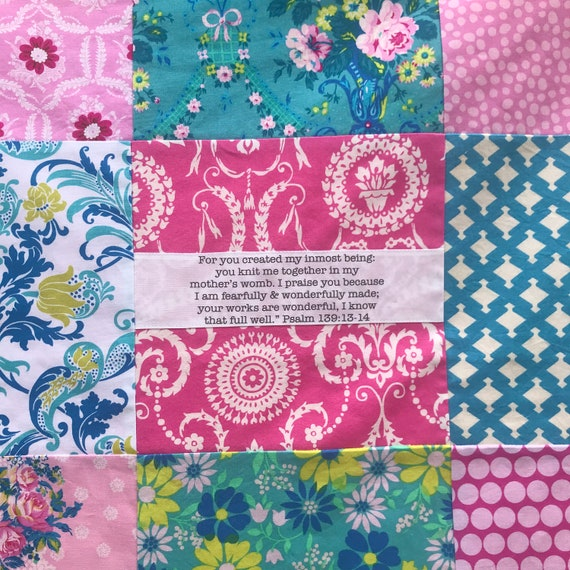 READY TO SHIP 32x32 Jennifer Paganelli Scripture Baby Blanket