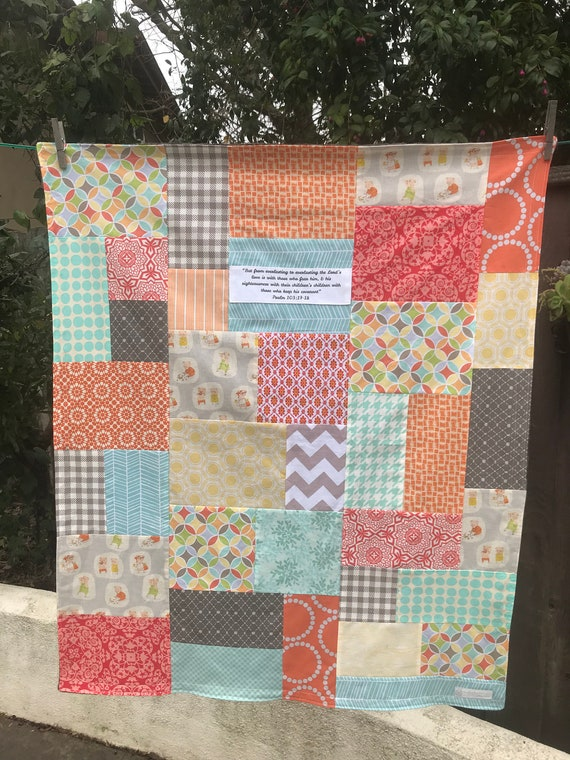 READY TO SHIP 34x38 Little Piggies Scripture Random Patchwork and Minky Blanket