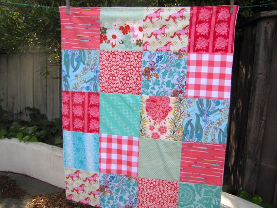 32x40 Coral, Red & Mint Baby Blanket Ready to Ship