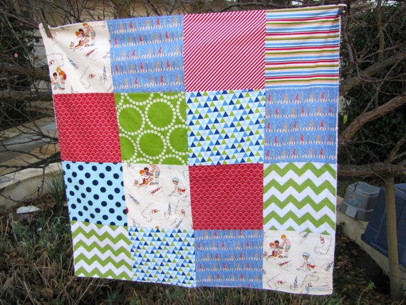 32x32 Rocket Launch Club Baby Boy Blanket Ready to Ship