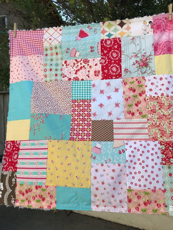 34X36 Dolly Clothes Random Patchwork Blanket Ready to Ship