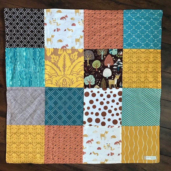 READY TO SHIP 32x32 Forest Animals Baby Blanket