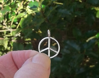 "Sterling Silver Peace Sign Charm - 5/8"" or 15 mm"