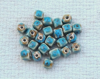 Cube-Shaped Porcelain Deep Sky Blue Beads - 7 mm - Sets of 24