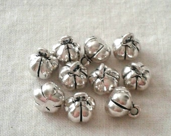 Tibetan Silver Pumpkin Charms - 3-D - 7 x 5 mm - Set of 10