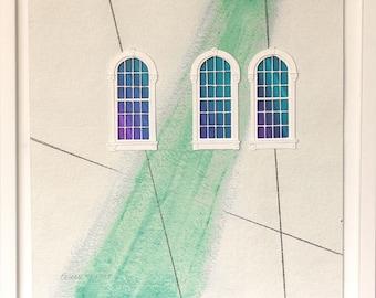 Windowed Triad - mixed-media on paper