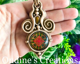 Glass Mandala Pattern and Tigers Eye  Hand Crafted Clay Pendant #213 Festival Rave Gypsy