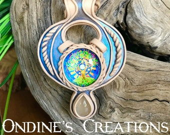 Tree Of Life Glass, Rainbow Moonstone Healing Stone Clay Pendant Festival Jewelry #214