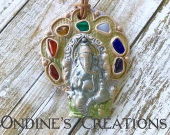 Healing Stones Chakra Ganish, Lord of Ganesha Clay Pendant, Festival Jewelry, Spiritual #229