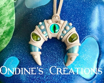 All Seeing Eye Crescent Moon, Double Horn Clay Pendant Peridot Healing Stone Festival Jewelry #218