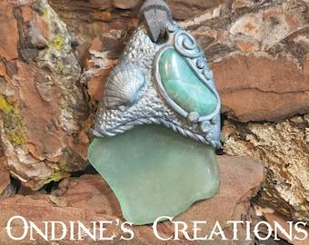 Amazonite, Vintage Sea Glass, Clay Pendant, Healing Stone, Boho Jewelry, Hippie Jewelry , Clay Jewelry  #202