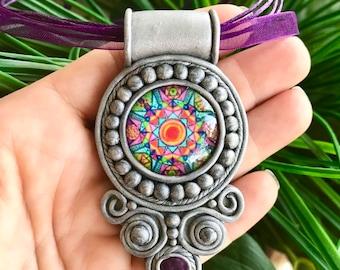 Mandala Pattern Glass Cabochon, Amethyst Faceted Gemstones Clay Pendant, Festival Jewelry, Crystal Pendant, Healing Stones Pendant #227