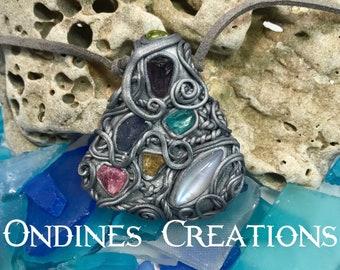 Rough Amethyst , Pink Tourmaline, Peridot, Rainbow Moonstone, Imperial Topaz, Blue Apatite, Tanzanite Clay Pendant #199