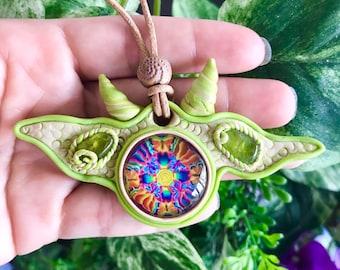 Green Horned Peridot, Trippy Glass Clay Pendant, Crystal Pendant, Festival Jewelry, Healing Stone Pendant,  Clay Pendant  #232