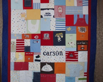 Large throw size Patchwork Style Quilt made from baby clothing - CUSTOM ORDERS