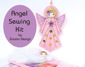 Felt Angel Sewing Craft Kit, DIY Pink Felt Angel, Sew Christmas Angel, Felt Holiday Ornament Sewing Kit