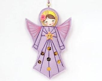 Felt Angel Figurine, Lilac Christmas Angel, Guardian Angel Ornament, Gift for Girl