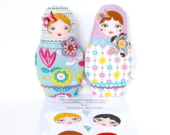 Matryoshka Doll Kit, Russian Doll Plush Pattern with 4 Fabric Doll Faces, Rag Doll Kit, Sew Your Own Doll